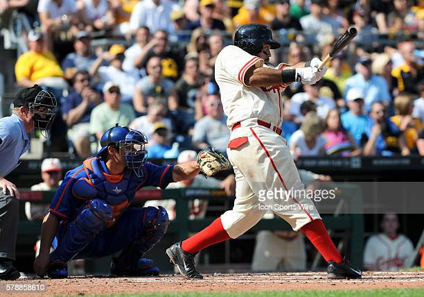 Pittsburgh Pirates third baseman Pedro Alvarez grounds out during the second inning in the game between the New York Mets and the Pittsburgh Pirates...