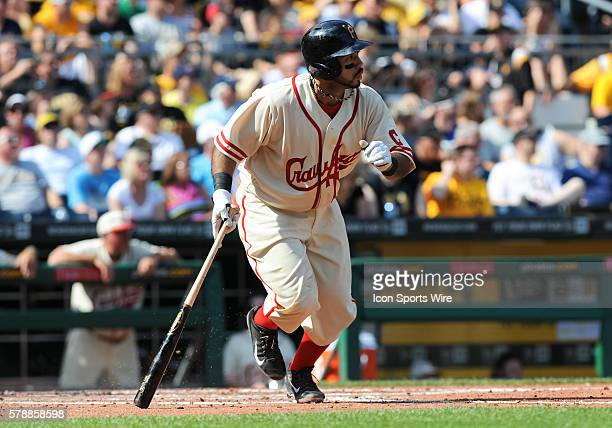 Pittsburgh Pirates third baseman Pedro Alvarez runs to first base during the second inning in the game between the New York Mets and the Pittsburgh...