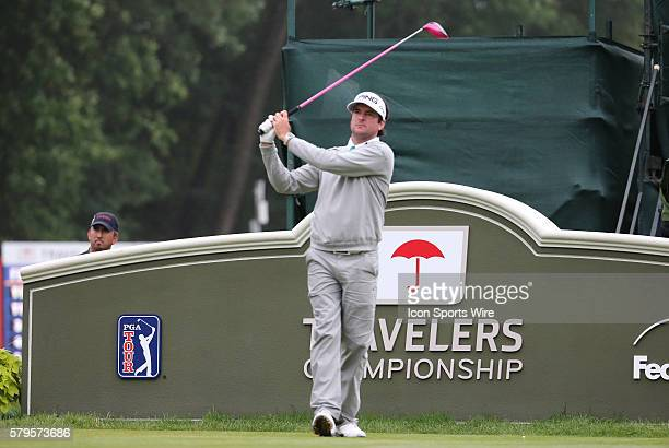 Bubba Watson watches his drive on 18 during the final round of the Traveler's Championship at TPC River Highlands in Cromwell Connecticut