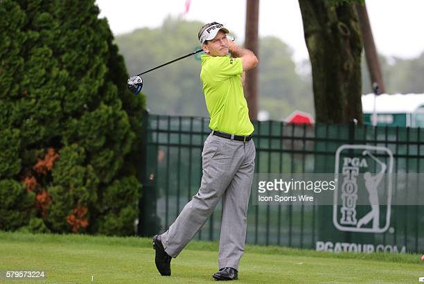 Mark Wilson drives from the 9th tee during the final round of the Traveler's Championship at TPC River Highlands in Cromwell Connecticut