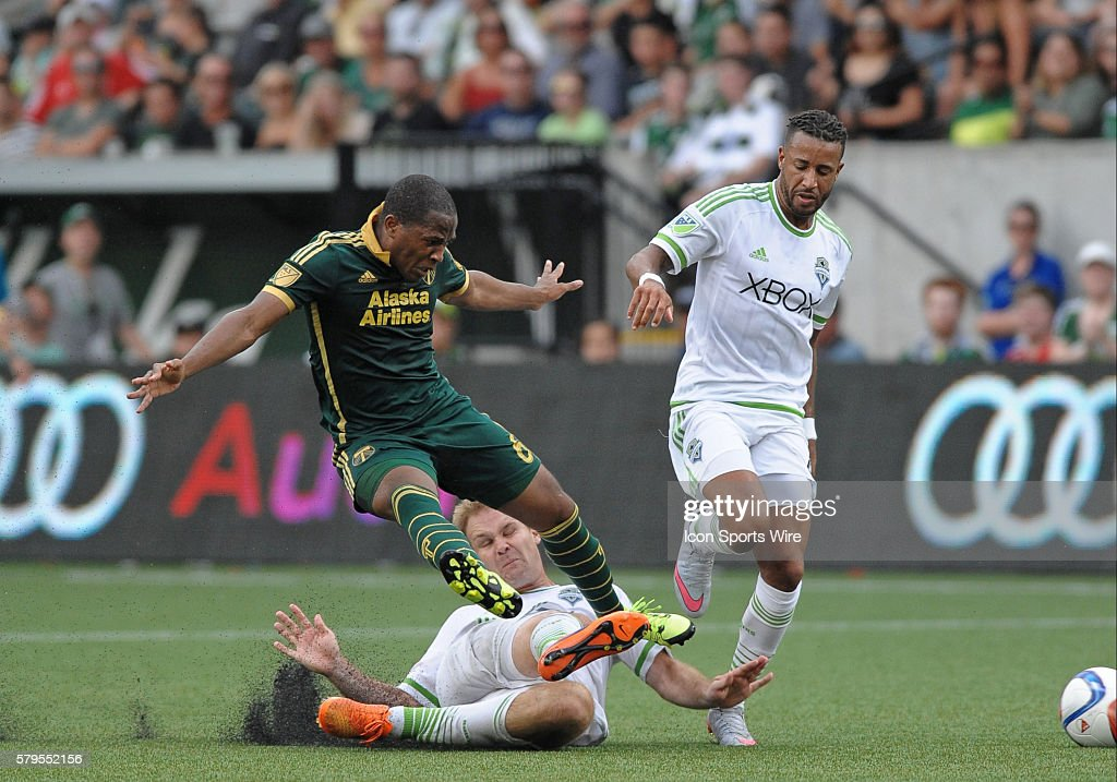 Timbers' forward Darlington Nagbe (6) during Seattle Sounders vs Portland Timbers game in Providence Park in Portland,Oregon.