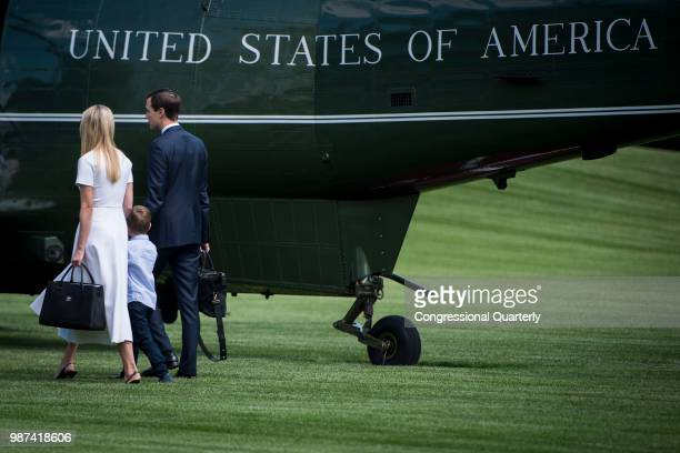Ivanka Trump her son Theodore Kushner and her husband Jared Kushner board Marine One shortly after leaving the White House Friday June 29 2018