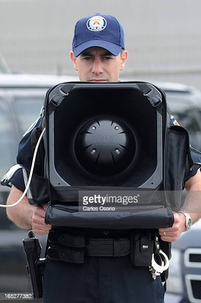 June 3 2010 Police demonstrate the Long Range Acoustic Device The Integrated Security Unit for the G20 held a technical briefing at the Toronto...