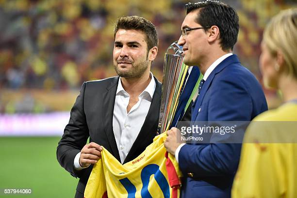 Razvan Burleanu the president of Romanian Football Federation R and Adrian Mutu L during the quotAquot International Friendly Match Romania vs...