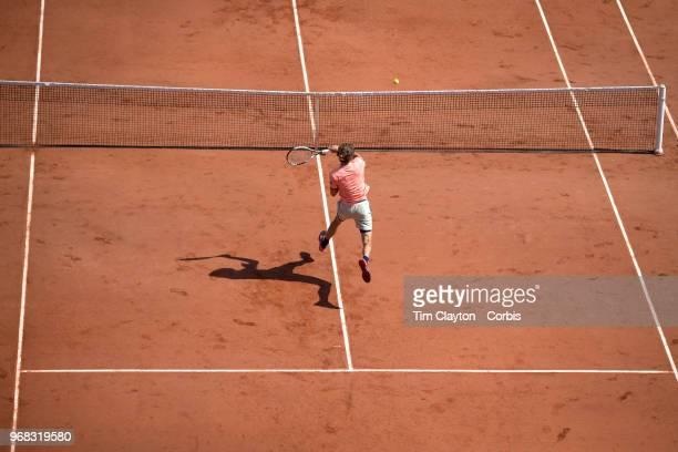 June 3 French Open Tennis Tournament Day Eight Alexander Zverev of Germany in action against Karen Khachanov of Russia on Court Suzanne Lenglen in...