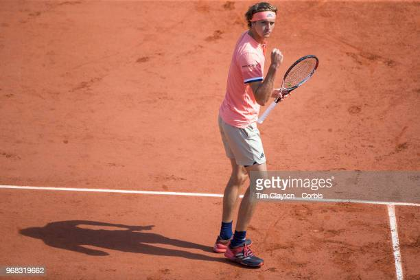 June 3 French Open Tennis Tournament Day Eight Alexander Zverev of Germany in action against Karen Khachanov of Russia on Court Suzanne Lenglen in...