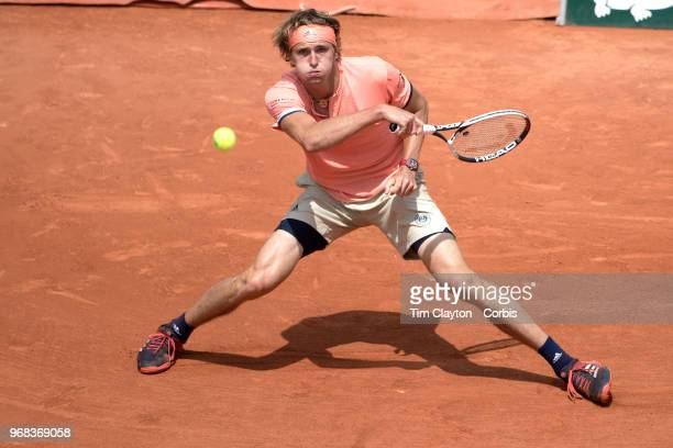 June 3 French Open Tennis Tournament Day Eight Alexander Zverev of Germany in action during his five set win against Karen Khachanov of Russia on...