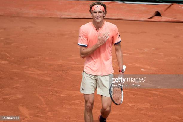 June 3 French Open Tennis Tournament Day Eight Alexander Zverev of Germany celebrates his five set win against Karen Khachanov of Russia on Court...