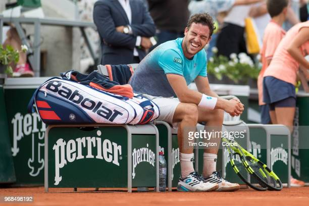 June 3 French Open Tennis Tournament Day Eight Marco Cecchinato of Italy celebrates his victory over David Goffin of Belgium on Court Suzanne Lenglen...