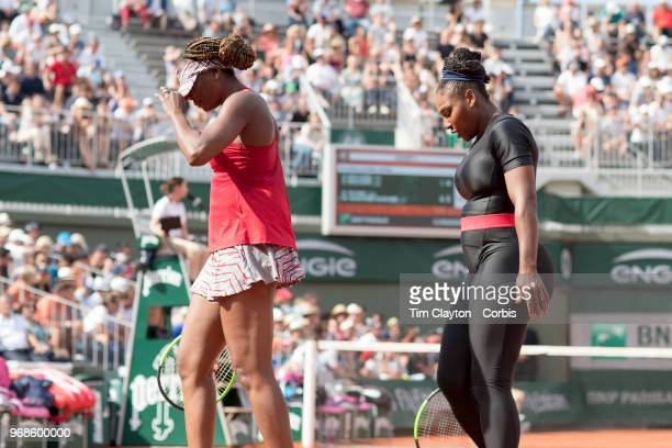 June 3 French Open Tennis Tournament Day Eight Serena Williams and Venus Williams of the United States during their loss against Andreja Klepac of...