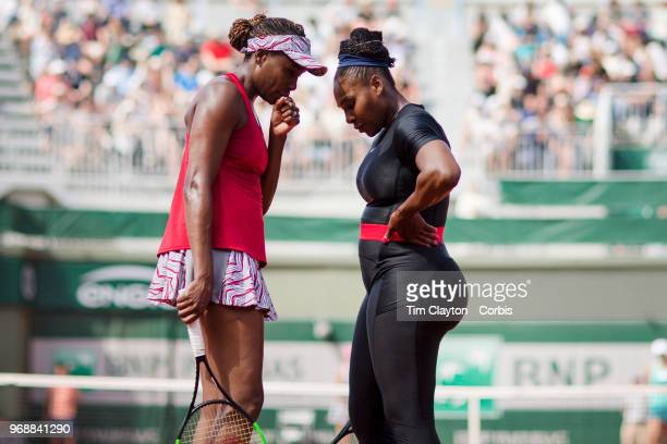 June 3 French Open Tennis Tournament Day Eight Serena Williams and Venus Williams of the United States in action against Andreja Klepac of Slovenia...