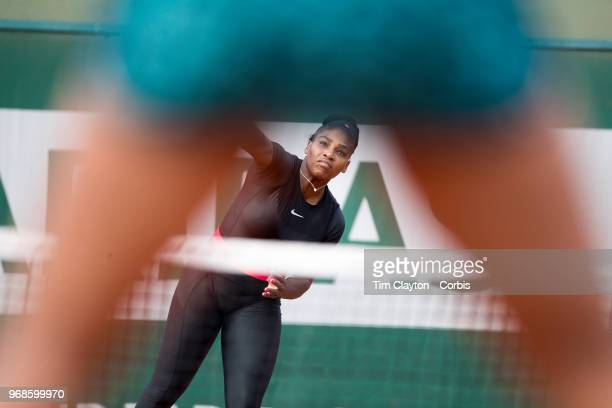 June 3 French Open Tennis Tournament Day Eight Serena Williams in action with sister Venus Williams of the United States during their loss against...