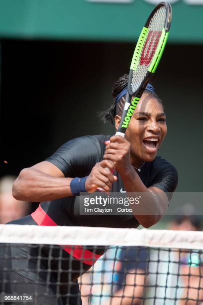 June 3 French Open Tennis Tournament Day Eight Serena Williams of the United States in action with sister Venus Williams of the United States during...