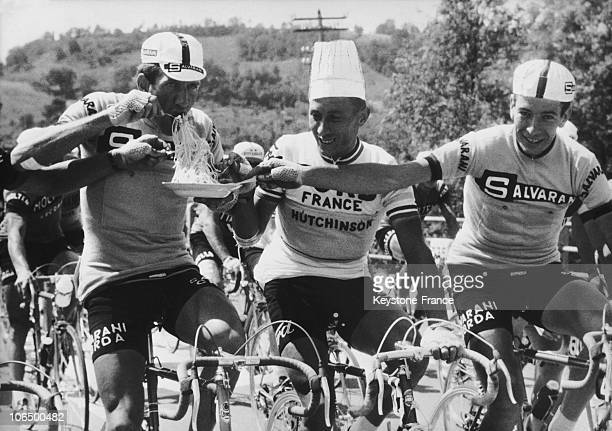 June 3Rd 1966 Giro D Italia Vittorio Adorni Jacques Anquetil And Felice Gimondi Eating Spaghetti