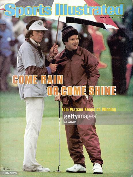 June 4, 1979 Sports Illustrated via Getty Images Cover, Golf: The Memorial, Tom Watson and caddie Bruce Edwards with umbrella during rain, weather on...