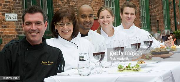 June 4 2008 TORONTO ONTARIO From left Jason Rosso executive chef of Distillery district restraurants Pure Spirits Archeo Trattoria and Boiler House...
