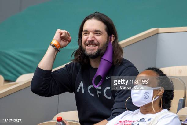June 4. Alexis Ohanian, husband of Serena Williams of the United States reacts in the stands during her match against Danielle Collins of the United...