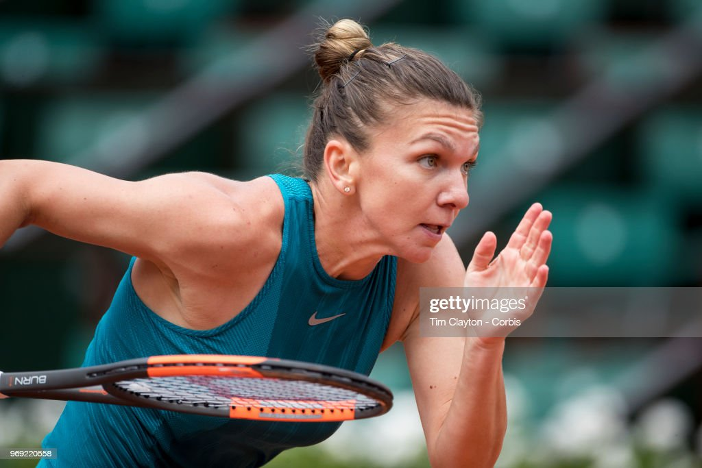 June 4. French Open Tennis Tournament - Day Nine. Simona Halep of Romania in action against Elise Mertens of Belgium on Court Philippe-Chatrier in the Women's Singles Competition at the 2018 French Open Tennis Tournament at Roland Garros on June 4th 2018 in Paris, France.