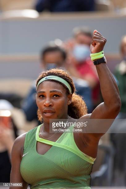 June 4. Serena Williams of the United States celebrates her victory against Danielle Collins of the United States on Court Philippe-Chatrier during...