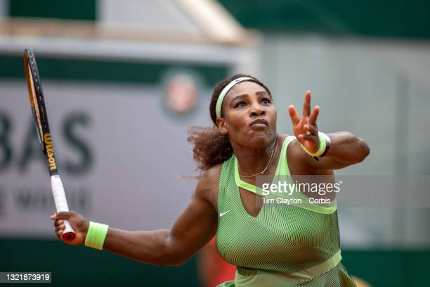 June 4. Serena Williams of the United States in action against Danielle Collins of the United States on Court Philippe-Chatrier during the third...