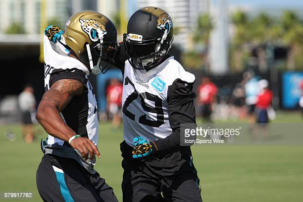 June 4th 2015 Jacksonville FL USA CB Tommie Campbell participating in drills during the Jacksonville Jaguars OTA's held at the Florida Blue Health...