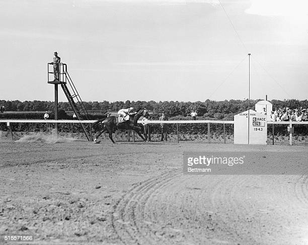 June 5 1943 New York City Here's Count Fleet with Johnny Longden up scoring another uncontested victory in the $25000 added Belmont Stakes at Belmont...