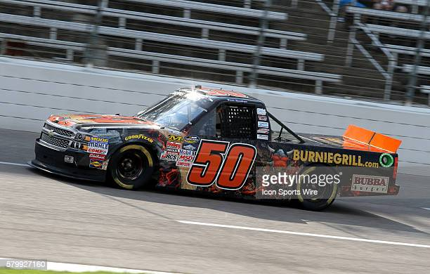 Ryan Ellis, driver of the BurnieGrill.com Chevy during qualifying for the WinStar World Casino and Resort 400 at the Texas Motor Speedway in Ft....