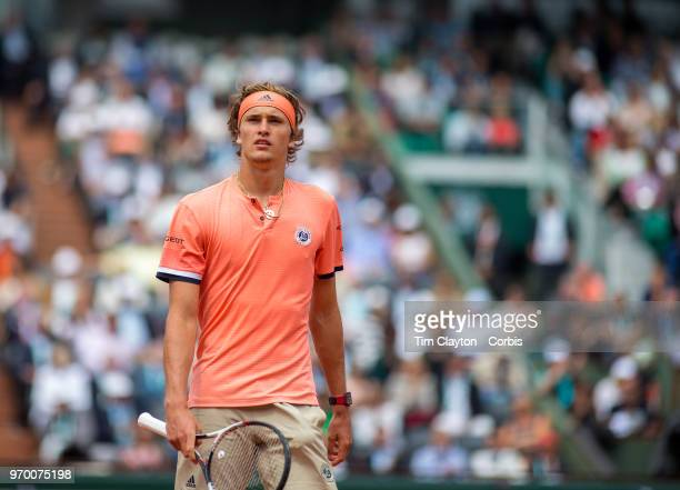 June 5 French Open Tennis Tournament Day Ten  Alexander Zverev of Germany during his match against Dominic Thiem of Austria on Court...
