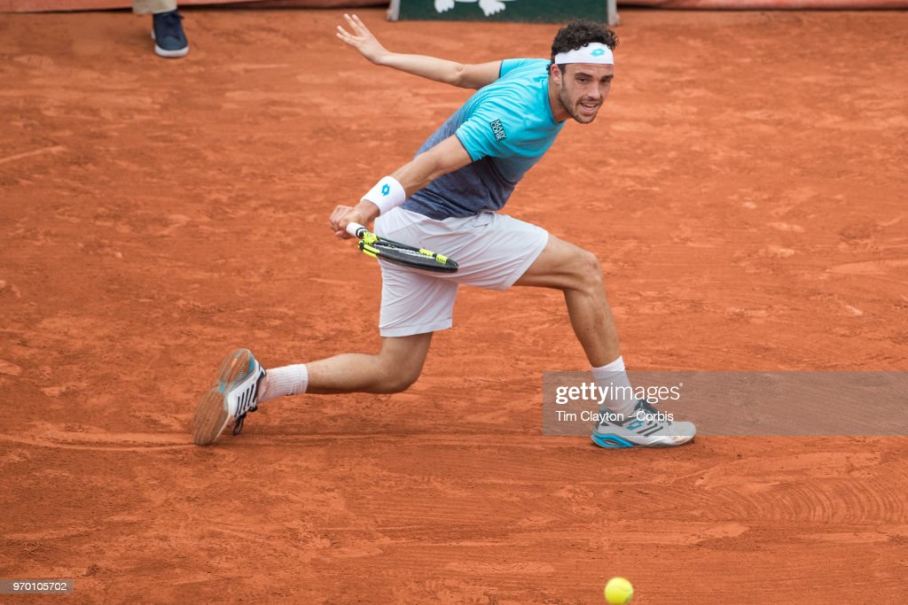 June 5. French Open Tennis Tournament - Day Ten.  Marco Cecchinato of Italy in action against Novak Djokovic of Serbia on Court Suzanne Lenglen in the Men's Singles Quarter Finals at the 2018 French Open Tennis Tournament at Roland Garros on June 5th 2018 in Paris, France.