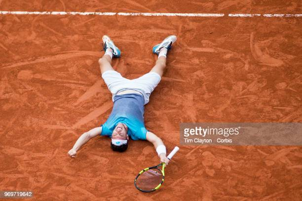 June 5. French Open Tennis Tournament - Day Ten. Marco Cecchinato of Italy celebrate his victory against Novak Djokovic of Serbia on Court Suzanne...