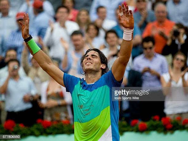 June 6 2010 June 6 2010 Rafael Nadal of Spain raises his arms in victory after defeating Robin Soderling of Sweden 64 62 64 in the final of the...