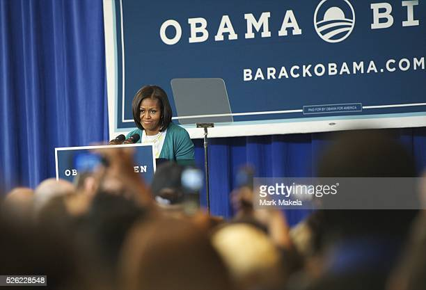 June 6, 2012 - Philadelphia, PA, U.S - First lady MICHELLE OBAMA addresses supporters at the National Constitution Center in Philadelphia,...