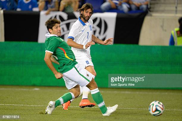 Greece forward Giorgos Samaras kicks the ball towards the net during a International friendly match between Greece and Bolivia before the 2014 World...