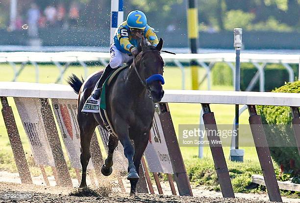 American Pharoah thunders down the home stretch on his way to 147th running of the Belmont Stakes and with it Thoroughbred Racing's Triple Crown at...
