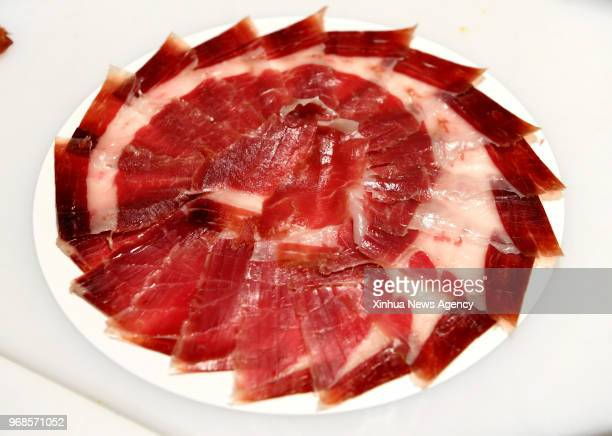 MADRID June 6 2018 A plate of Iberian ham is shown in an Iberian ham factory in Salamanca Spain on May 31 2018 Iberian ham is the most expensive kind...