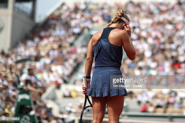 June 6 French Open Tennis Tournament Day Eleven  Angelique Kerber of Germany in action against Simona Halep of Romania on Court Suzanne Lenglen...