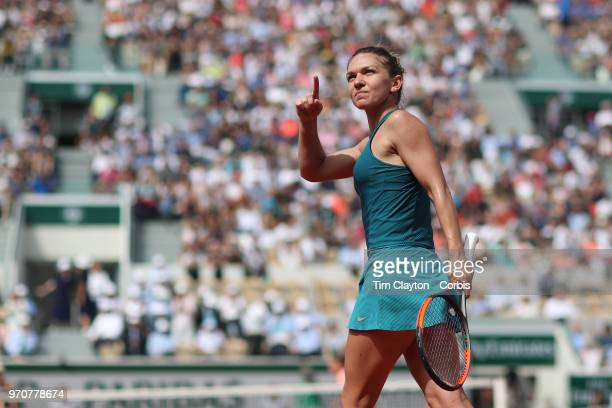 June 6 French Open Tennis Tournament Day Eleven  Simona Halep of Romania celebrates her win against Angelique Kerber of Germany on Court Suzanne...