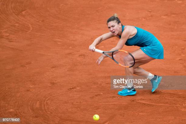 June 6 French Open Tennis Tournament Day Eleven  Simona Halep of Romania in action against Angelique Kerber of Germany on Court Suzanne Lenglen...