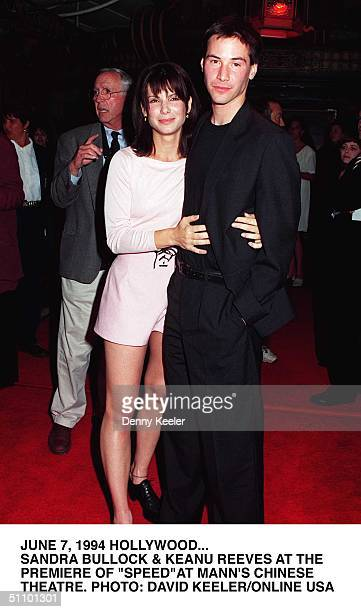 """June 7, 1994. Hollywood. Sandra Bullock & Keanu Reeves At The Premiere Of """"Speed"""" At Mann's Chinese Theatre."""