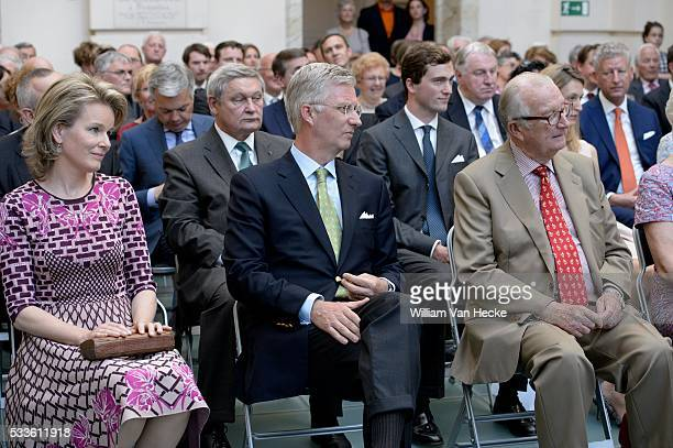 June 7 2014 Following the 80th birthday of King Albert II King Philippe Queen Mathilde King Albert and Queen Paola attend the launch of the...