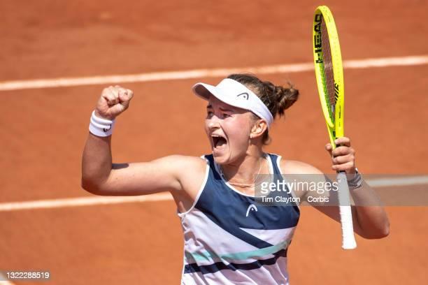 June 7. Barbora Krejcikova of the Czech Republic celebrates her victory against Sloane Stephens of the United States on Court Suzanne Lenglen during...