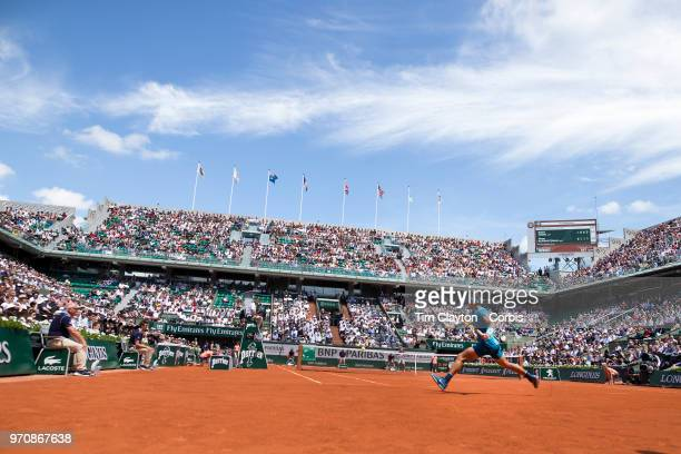 June 7. French Open Tennis Tournament - Day Twelve. Rafael Nadal of Spain in action against Diego Schwartzman of Argentina on Court Philippe-Chatrier...