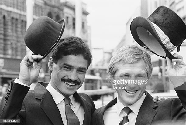 June 8 1981London England Jim Watt the world lightweight chapion doffs his hat when Alexis Arguello Nicaraguan born his challenger at the National...