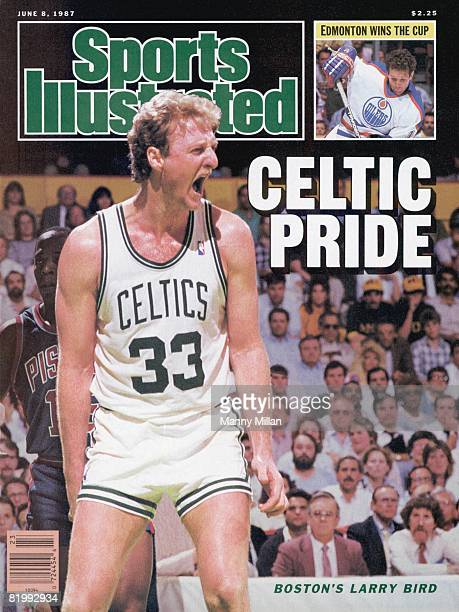 Basketball NBA Playoffs Boston Celtics Larry Bird victorious on court during game vs Detroit Pistons Vinnie Johnson Game 2 Inset Hockey NHL Finals...