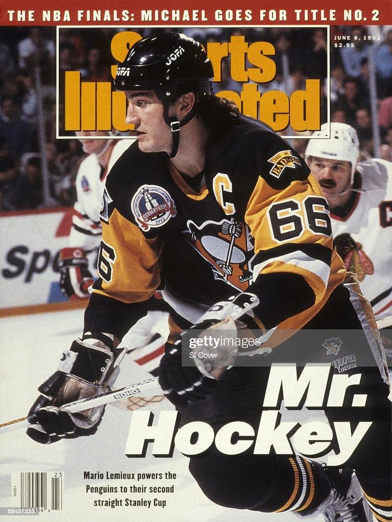 Pittsburgh Penguins Mario Lemieux, 1992 NHL Stanley Cup Finals : News Photo