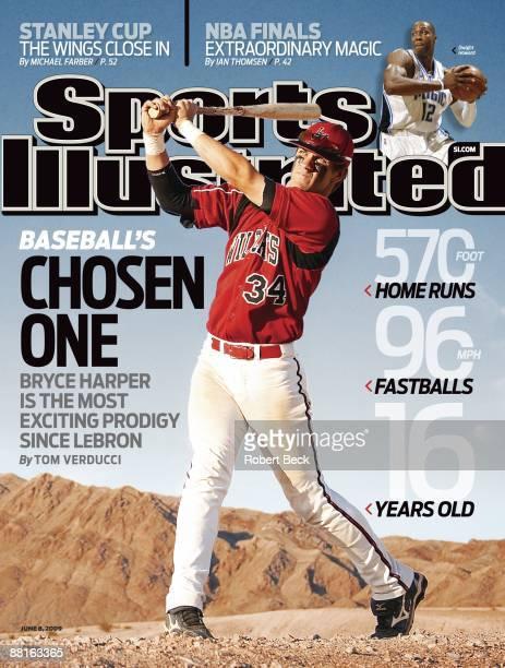 June 8 2009 Sports Illustrated via Getty Images Cover High School Baseball Portrait of Las Vegas High Bryce Harper standing in desert Las Vegas NV...