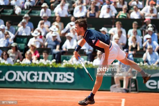 June 8 French Open Tennis Tournament Day Thirteen Dominic Theim of Austria in action against Marco Cecchinato of Italy on Court PhilippeChatrier...