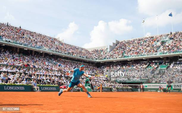 June 8 French Open Tennis Tournament Day Thirteen  Rafael Nadal of Spain in action against Juan Martin Del Potro of Argentina on a packed Court...