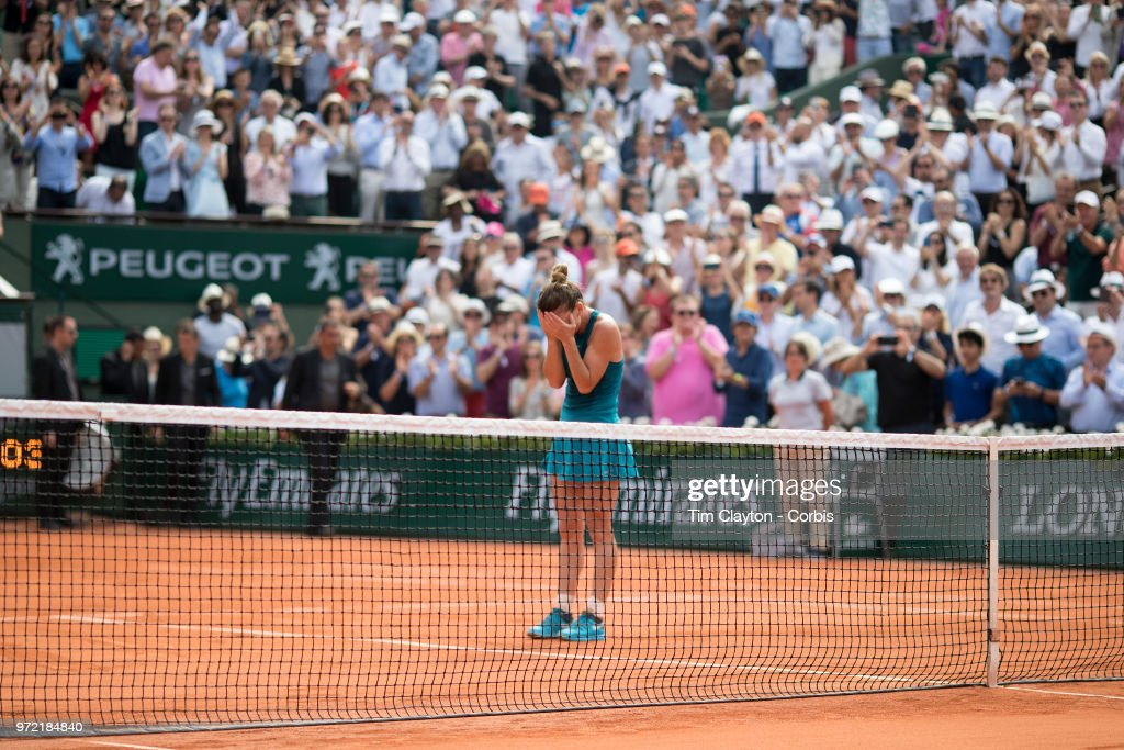 June 9. French Open Tennis Tournament - Day Twelve.  Simona Halep of Romania celebrates her win against Sloane Stephens of the United States on Court Philippe-Chatrier during the Women's Singles Final at the 2018 French Open Tennis Tournament at Roland Garros on June 9th 2018 in Paris, France.