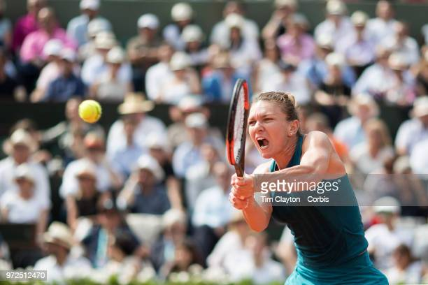 June 9 French Open Tennis Tournament Day Twelve Simona Halep of Romania in action against Sloane Stephens of the United States on Court...